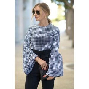 Who What Wear Blue Gingham Ruffle Top